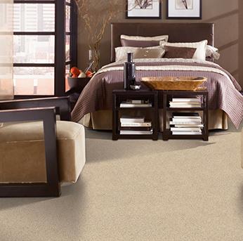 Bedroom scene with beige Alexander Smith carpet