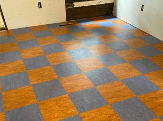 Mid Century Modern Kitchens in Arcata with Marmoleum Composite Tile
