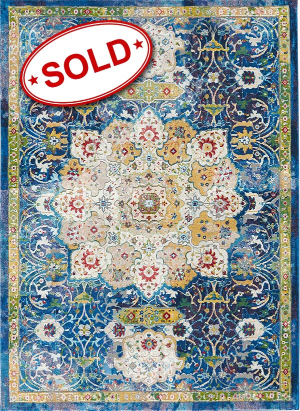 "Ankara Global ANR03 Blue 7'10"" x 9'10"""
