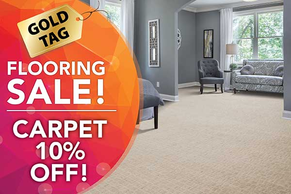 Gold Tag Sale 10% off carpet at Arcata ProFloor Abbey Design Center